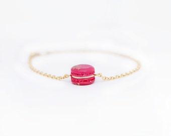 Macaron Minimalist Dainty Bracelet 18K Gold - Crimson Red