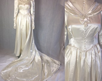 1940s liquid satin wedding gown