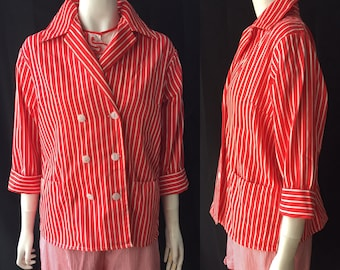 1950s striped summer blazer jacket volup Large