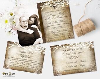 Winter Wedding Invitation Rustic Wedding Invite Suite Vintage Old World Wedding Invites Photo Invitation and RSVP Printable Wedding Invites