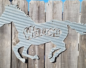 Welcome Running Horse/Vintage Corrugated Barn Tin/Western/Metal Sign/Country/Cowboy/Cowgirl