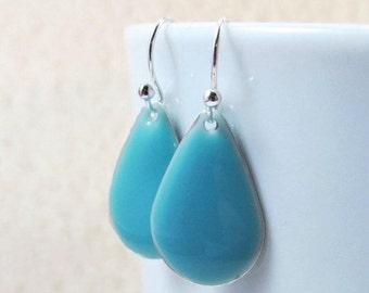 20% off sale Dangle Drop Earrings - Sky Blue Epoxy Enamel Teardrops - Sterling Silver Plated over Brass (F-5)