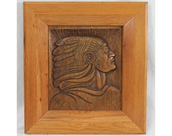 1976 Carved Wood Native American Indian Chief Southwest Folk Art Relief