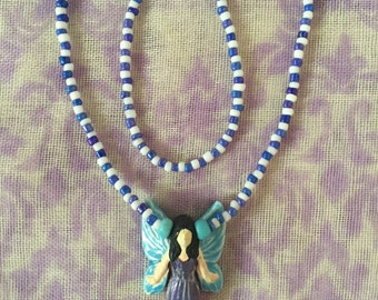 Handmade Fairy Pendant Necklace with Blue and White Beaded Chain