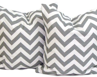 GRAY PILLOWS. SET of Two 20, 18 or 16 inch.Pillow Covers.Decorative Pillows.Grey Pillows.Gray Pillows.Gray Chevron.cm.Zigzag.Chevron.Gray.cm