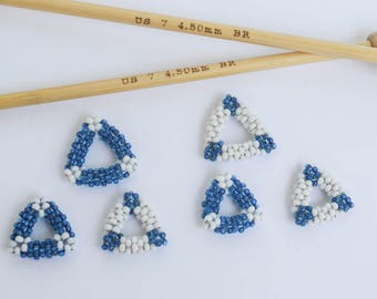 Bead Woven Stitch Marker Set Blue and White Triangle Stitch Markers Knitting Notions Knitting Jewelry Gift Ideas