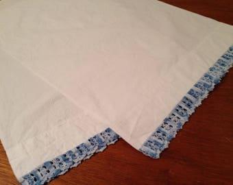 Unused Vintage Pair Blue Crocheted Edge Standard Cotton Pillowcases