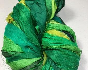 Recycled Sari Silk Ribbon Multishaded Greens Tassel Supply Dreamcatcher Garland Fair Trade Sari Wrap Bracelet Fiber Art Supply