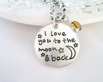 Love you to the Moon and Back Charm Necklace Mom Gift for Grandmother Jewelry Gift for Child Daughter Gift for Niece Birthstone Necklace
