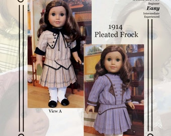 "PDF Pattern KDD08 ""1914 Pleated Frock"" -An Original KeepersDollyDuds Design, makes 18"" Doll Clothes"