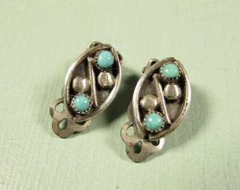 Sterling Silver Turquoise Earrings - Vintage Southwest Boho Bohemian