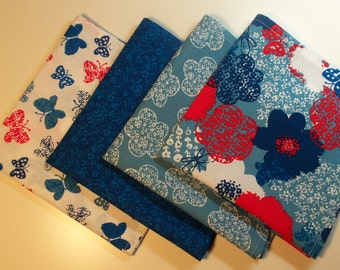 Cotton Cloth Napkins - Set of 4 Coordinating Colors Blue Red