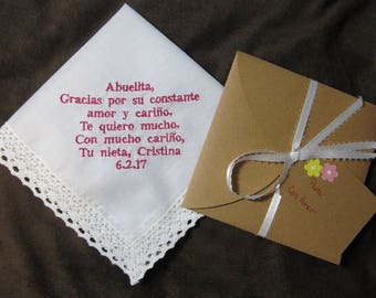 Grandmother of the Bride - Spanish Version - Personalized Wedding Handkerchief With Free Gift Envelope - With Non Script Dark Pink Writing