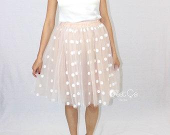 Babette Beige Tulle Skirt, Polka Dot Tutu, Adult Tutu, Bridal Skirt, Braidesmaids Skirt, Plus Size Tutu, Midi Tulle Skirt, Polkadot Tutu