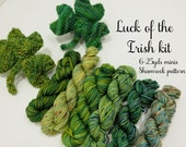 Shamrock Knit kit - 6 sock yarn mini skeins and pattern