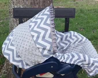 Grey Chevron Stripe minky baby car seat cover infant seat cover slip cover Graco fit or evenflo universal fit