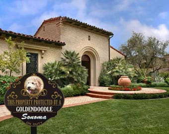 Personalized Protected by Goldendoodle sign
