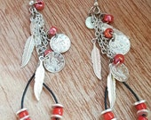25% OFF SALE Silver Feather Earrings  Red and Silver Earrings  Leather Earrings  Feather Jewelry