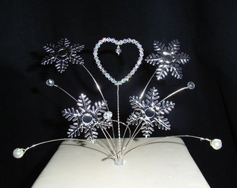 Snowflake & Heart Cake  topper  for a Winter wedding