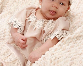 Boho Dress Crepe Champagne 6 to 9 Months Coordinating Boho Headband Ellie Ann and Lucy