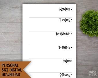 Printable WO1P M-S Week On One Page Personal Size Planner Insert || digital download planner printable filofax kikki k organizer