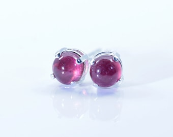 Natural Ruby, 4mm x 0.90 Carat (TCW), Cabochon Cut, Sterling Silver Post Earrings