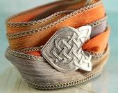 Celtic Bracelet with Braid Pattern - Silk Ribbon Wrap - Silver Celtic Arrow
