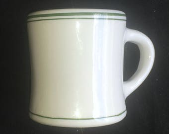 "Trenle Blake China Green-Banded ""Saratoga"" Diner Restaurant 8 oz. Mug in Excellent Condition"
