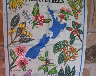 New Zealand Native Trees Tea Towel, Flowering Trees, Karo, Flax, Hinau, Manawa, Kowhai, Pohutukawa, Tawapau, Houhere, Pigeonwood, 100% Linen