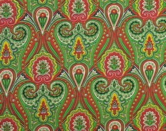 Vintage Paisley Fabric, Lightweight Fabric, Shiny Fabric, Scarf Fabric, Vintage Fabric, Synthetic Fabric - 1 1/8 Yard - MSF2174