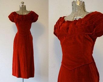 1950's Red Velvet Cocktail Dress / Size Small