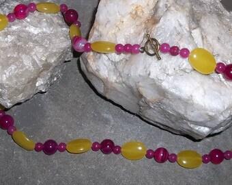 Necklace, Lemon Jade and Raspberry Quartz Beads