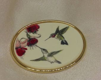 Enamel Hummingbirds Gold Brooch