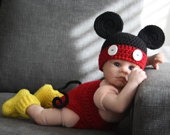 Newborn Mickey MousePhoto Prop, Crochet Mickey Mouse Outfit, Baby Boy Photo Prop
