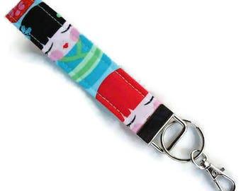 "Key Fob ""Hello Tokyo Dolls"" Wrist Key Chain, Keychain, Wristlet Key Chain, Keychain with Large Lobster Clasp~~Ready to Ship~~"