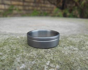 Titanium Ring, Off Center Groove