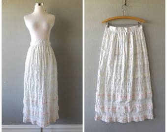 tiered lace maxi skirt | vintage 60s white pink size s/small hippie boho long column skirts dresses 1960s hippy bohemian wedding festival