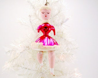 Vintage Italian Figural Glass Ice Skater Christmas Ornament 1955 Sears Commemorative Olympic Ornament Decoration Pink