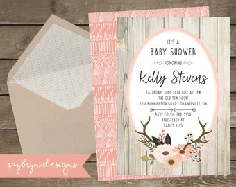 Oh Deer! | Rustic Baby Girls Shower Invitation | Barn Board with Soft Pink Floral Antler | Pink and Grey Details | Printable file.