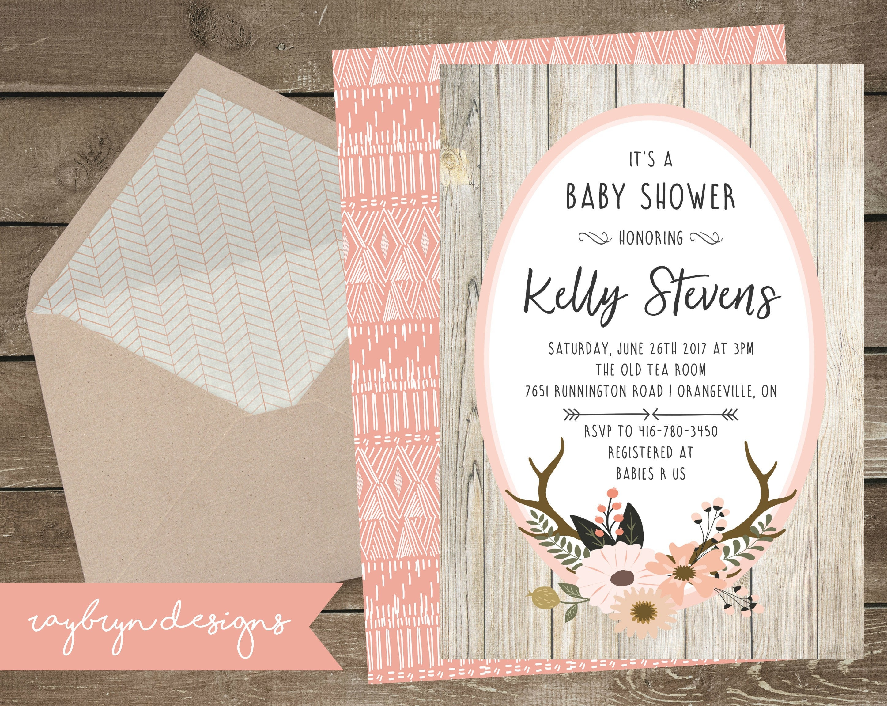 Oh Deer Rustic Baby Girls Shower Invitation