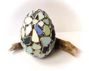 Beach Pottery Mosaic Egg,Stained Glass Mosaic,Blue Sea Pottery,Coastal/Nautical Easter,Pottery Egg,Mint Blue/Cobalt Blue Egg