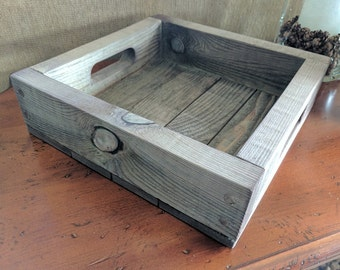 Rustic Wood Tray, Reclaimed Tray, Serving Tray, Vintage Tray