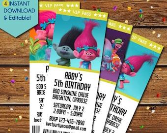 Poppy Troll Invitation, Trolls Poppy Invitation, Trolls Birthday Invitation, Trolls Movie Invitations, Poppy Troll Party Invite