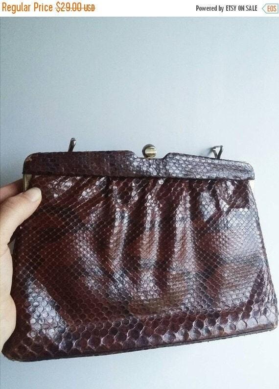 ON SALE Vintage leather handbag snake or crocodille