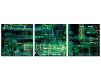 Teal Metal Art 'Aporia Blue Triptych Large' by Nicholas Yust - Urban Artwork Abstract Wall Art on Metal or Acrylic