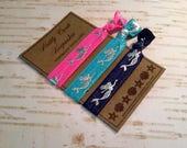 Mermaid Collection Elastic Hair Ties/ Pink Navy and Turquoise Hair Bands / Hair Ties/ No-Crease Hair Tie / FOE Hair Ties