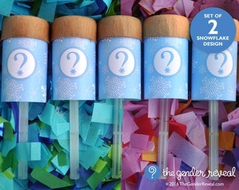 Snowflake Confetti Push-Pop Revealers for Gender Reveal Parties - Set of 2