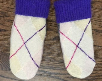 Sweater Mittens made from Recycled Sweaters, Fleece Lined Cashmere Wool Mittens Argyle