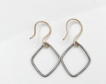 Statement Blackened Diamond Earrings with 9ct Gold Ear Wires - Mixed Metal