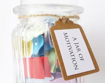 A Jar of Motivation - Positive Encouraging Quotes of Motivation - Handmade Message Jar Gift